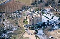 Aerial view of Castilnovo Castle (14th-15th Centuries). Perorrubio. Segovia province. Castilla y Le&#243;n. Spain