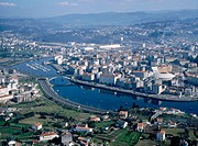 Aerial view of Pontevedra with Lerez river. Pontevedra province. Galicia. Spain