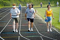 Seniors participate in 1 mile run, Senior Olympics. St. Clair County, Michigan, USA