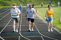 Seniors participate in 1 mile run, Senior Olympics. St. Clair County, Michigan, USA