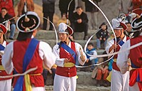 Traditional Korean guard. Seoul, South Korea