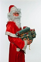 Skinny Santa holding gifts