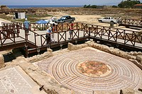 Roman mosaic in old Paphos.  An UNESCO, World Heritage Site. Cyprus