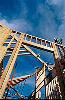 Carpenters framing a roof. Grass Valley, California. USA