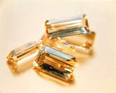 Topaz gemstones. This silicate mineral (aluminium silicate fluoride hydroxide) can range in colour from golden brown to yellow. Topaz can be polished ...