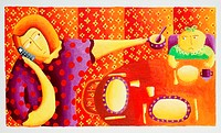 Overworked mother. Artwork of a mother using a mobile telephone while giving her child breakfast.