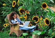 Apple laptop computer being used by a woman sitting amongst sunflowers. The rechargeable batteries of a laptop allows it to be used without a connecti...
