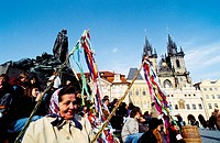 Stare Metso (Old Town Square). People celebrating Easter. Prague. Czech Republic.