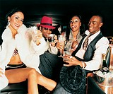 Portrait of Four Smiling, Young Adults Sitting at the Back Seat of a Limousine and Toasting Their Drinks