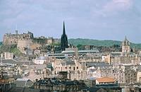 General view and castle. Edinburgh. Scotland. UK.