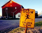 Children playing sign at Crossroads Farm. Belvedere, New Jersey. USA