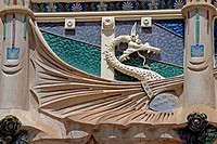 Detail on art nouveau facade. Palma de Mallorca. Majorca, Balearic Islands. Spain