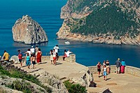 Tourists at Cap de Formentor. Majorca, Balearic Islands. Spain