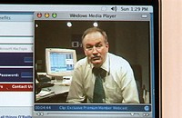 A screen shot of a webcast of Bill O´Reilly´s conservative talk show ´The O´Reilly Factor´ in the Corcoran College Library, NW Washington, DC.