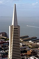 Aerial view of San Francisco with TransAmerica Pyramid. San Francisco, California. USA.