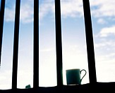 Iron bars with a silhouette of a coffee cap against the sky