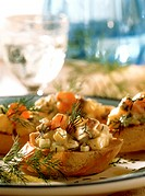 Crostini Topped with Fish