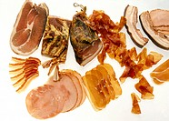 Still life with various types of ham