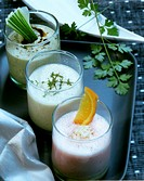 Cranberry and orange shake, herb soya milk, cucumber drink