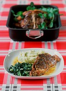Saddle of lamb with spinach and mashed potato