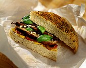 Focaccia with mushrooms and basil