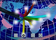 Illustration, optical fiber, globe, map