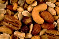 Close-up of different types of nuts.