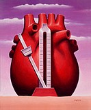 Medical illustration showing heart with a metronome in front of it.