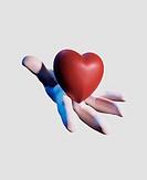 White hand holding heart.