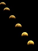 Eclipse of the moon in sequence.