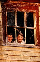 Two brothers in window