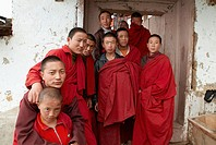 Monks in the monastery, Bhutan