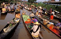 The floating market at Ywama, which takes place every 5 days and serves the local residences of the Inle Lake, Shan State, Myanmar