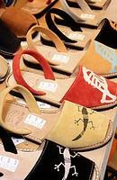 ´Albarques´ traditional shoes for sale. Palma de Mallorca. Majorca, Balearic Islands. Spain