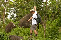 Auf einem Baumstamm balancieren