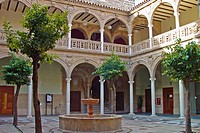 Renaissance courtyard inside the Palacio de Jabalquinto in the town of Baeza. Jaen province. Andalusia. Spain