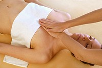 WOMAN BEING MASSAGED<BR>Model.