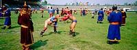Wrestling tournament. Naadam festival. Oulaan Bator, Töv province. Mongolia