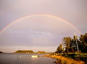 Rainbow over the sea. Batvik, Västerbotten, Sweden