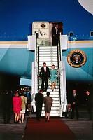 Clinton, William ´Bill´ * 19.8.1946,  US Politiker (Dem.) 42 .Präsident der USA 1993 - 2001, Mit Frau Hillary & Ehepaar Eberhard Diepgen (Bürgermeiste...