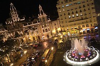 Valencia city hall square with the christmas lighting