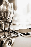 Glasses and silverware at a wedding reception. Moret-sur-Loing near Paris. France