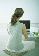 Woman sitting on cushion on floor at coffee table with laptop, rear view