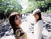 Two Smiling Women in Ueno park, Tokyo, Japan