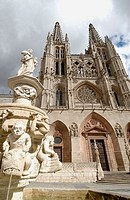 Main facade of the Cathedral. Santa María Square. Burgos. Castilla-León. Spain