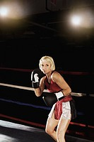 A female boxer in the ring (thumbnail)