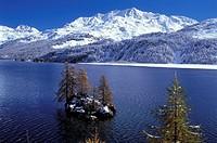 Grisons, Graubunden, island, isle, Lej da Segl, mountains, scenery, landscape, Silser lake, Silsersee, lake Sils, sn