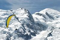 Chamonix, flies, France, Europe, glacier, Hitting Savoie, mountains, no model release, paraglider, Paraglider, Parag
