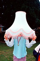 Girl wearing a lampshade