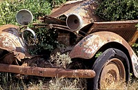 Oldtimer car rusting away, Cabo de Gata, Spain